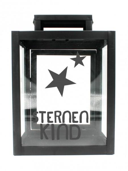 Metall-Laterne Sternenkind schwarz 25x18x13cm für LED-Kerzen