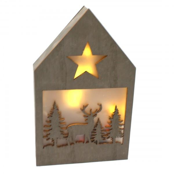 Dekohaus mit LED ~ Ein Elch, dunkel ~ leuchtende Weihnachts-Deko aus Holz ~ 21 x 13 x 3 cm