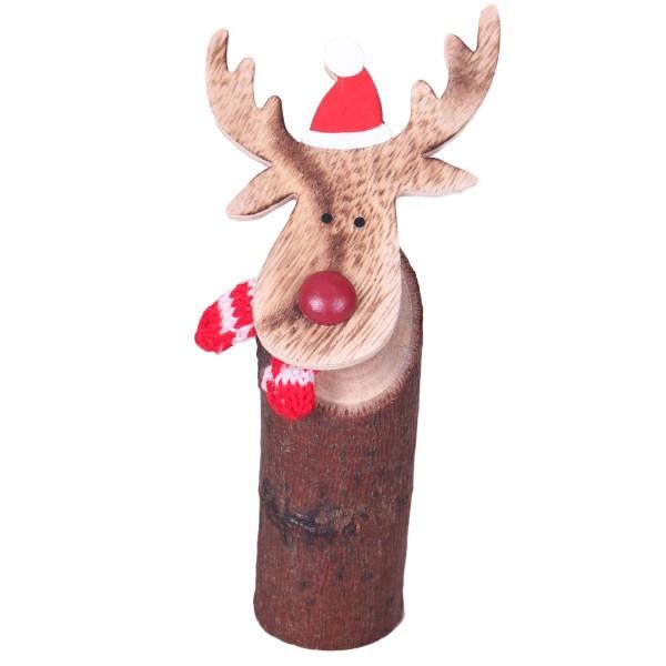 Holz-Sockel mit wackelndem Elch-Kopf ~ 16cm ~ Süße Figur als Deko für Winter und Weihnachten