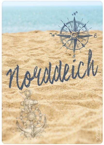 Holz-Postkarte, Norddeich - Strand Meer Nordsee, Holz-Schild Wand-Bild Deko-Schild 15x10cm