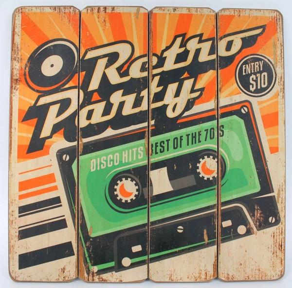 Retro Party Cassette Kassette - Werbe Schild aus Holz - 40 x 40 cm - Vintage Sha