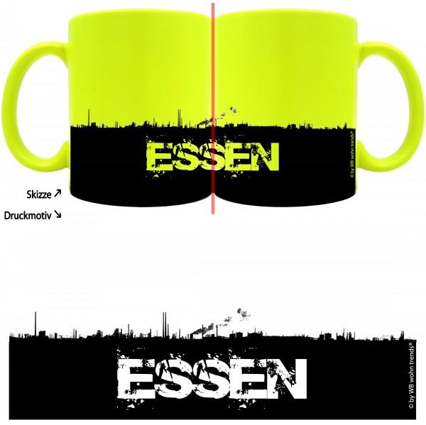 knallige Tasse mit rundum Motiv: ESSEN Skyline ~ Farbe: neon-gelb ~ Kaffee-Becher mit Motiv