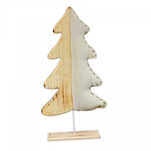 Deko Baum Tannenbaum - groß - Figur aus Holz mit gepolstertem Jute-Stoff - 50 x 21 x 6 cm