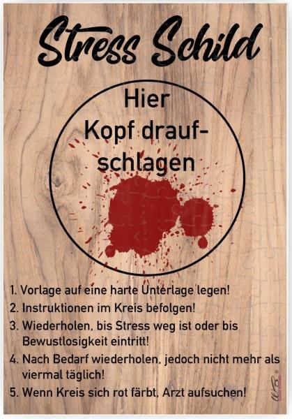 Puzzle-Botschaft eckig, Stress-Schild Kopf drauf-schlagen, 120 Teile 27x18cm inkl. Geschenk-Beutel