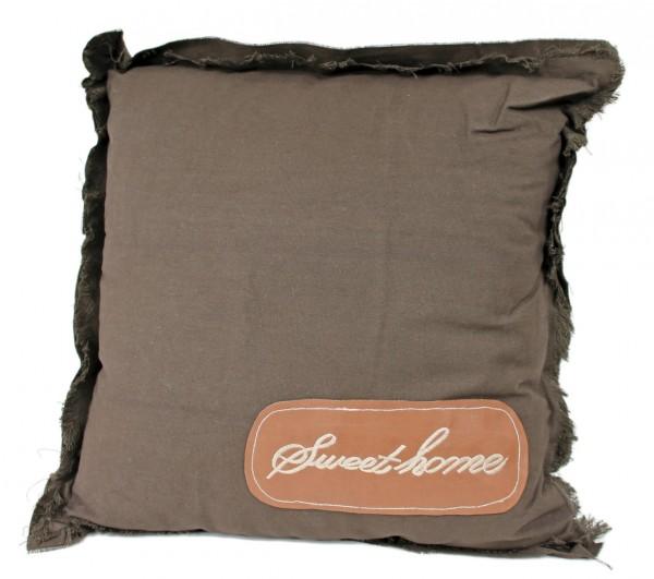 Zierkissen Dekokissen Kissen - braun - SWEET HOME - 45 x 45 cm - Shabby Look