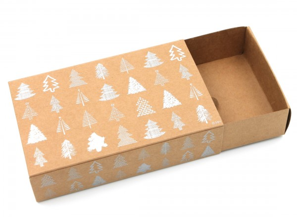 Geschenkschachtel Weihnachten, SILBER, Bäume mit Metallic-Effekt, Karton in natur-Optik, 16x10x6cm, Farbe/Motiv wählbar, Kiste Geschenk-Box aus Pappe