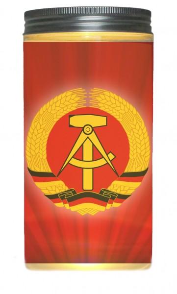 LED-Licht DDR Wappen Logo rot, rundum Druck 14x7cm Dose mit Deckel Leuchte LED-Lampe Text Spruch