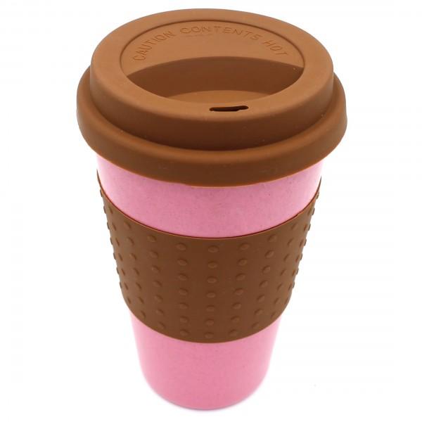 ökologischer Coffee to go Becher aus Reis-Faser (wie Bambus) - rosa braun
