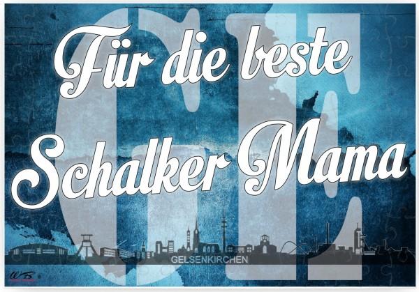 Puzzle-Botschaft eckig ~ Für die beste Schalker Mama - Gelsenkirchen ~ 120 Teile 27x18cm inkl. Geschenk-Beutel ~ WB wohn