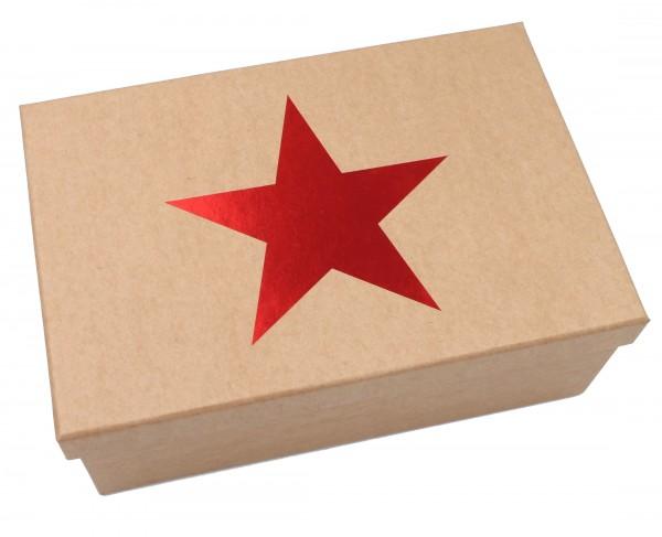 Geschenkbox Weihnachten ~ ROT, Stern mit Metallic-Effekt, Karton in natur-Optik ~ 26x18x9,5cm ~ 45992 ~ Größe&Farbe wähl