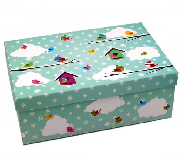 Geschenkbox, Vögel auf Wolke mit Schnee-Flocken - Weihnachten, 21,5x12,5x8cm, 23798, Kiste Box aus Pappe