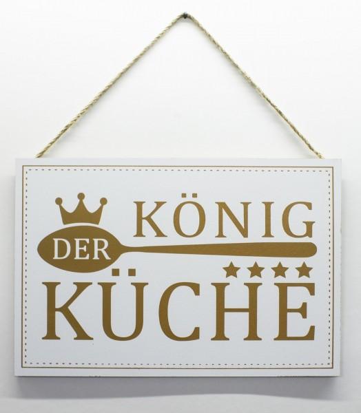 Holz-Schild zum Hängen, König der Küche, 30x20cm Deko-Schild