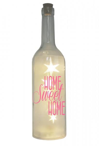 LED-Flasche mit Motiv, Home Sweet Home, rosa, 29cm, Flaschen-Licht Lampe mit Text Spruch