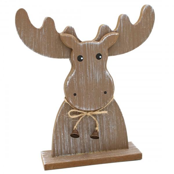 Elch-Kopf zum Stellen ~ tolle Deko-Figur aus Holz ~ braun ~ 20 x 18 cm