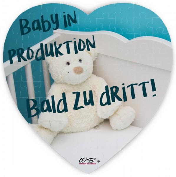 Puzzle-Botschaft Herz ~ Baby in Produktion Bald zu dritt! - Teddy ~ 75 Teile 19x19cm inkl. Geschenk-Beutel ~ WB wohn tre