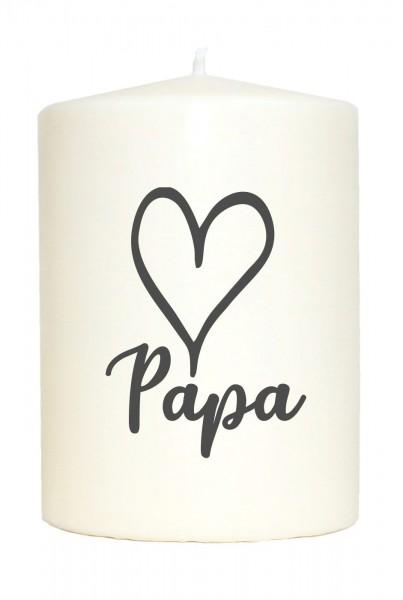 Kleine Spruchkerze weiß, Papa Herz, Aufdruck grau, 10x7cm, Kerze mit Spruch Motiv-Kerze