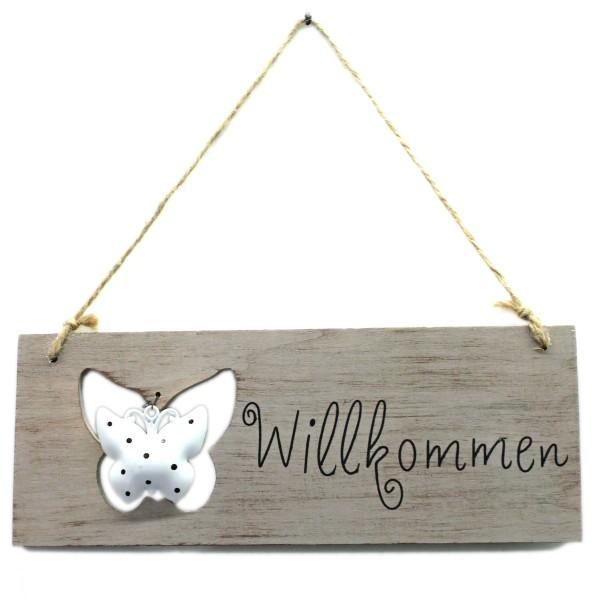 Deko-Hänger aus Holz, grau, Willkommen, mit Schmetterling, 25,5x10cm