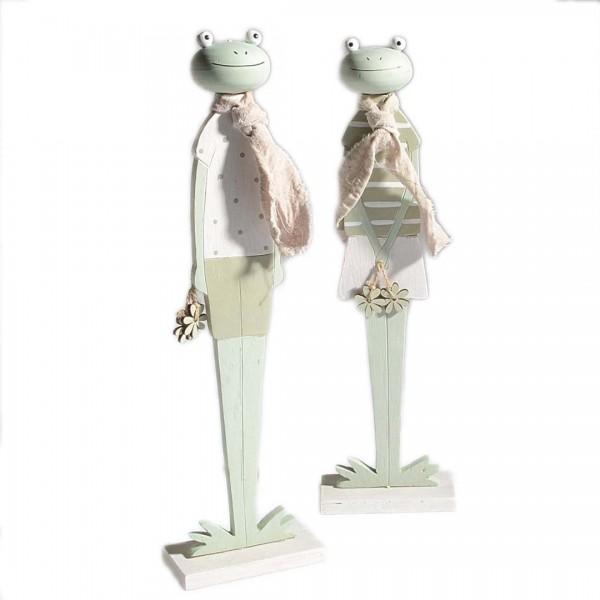 2 Frösche aus Holz, 2er Set, ca 34cm, schöne Deko Figuren für Frühling & Oste