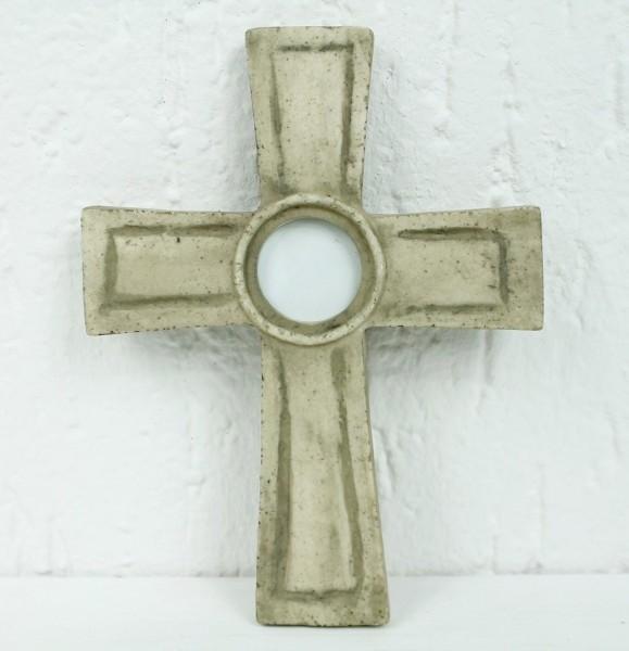 Kreuz zum Legen oder Hängen in Sandstein Marmor Optik - mit Foto / Bilderrahmen - Grabschmuck Grab Trauer