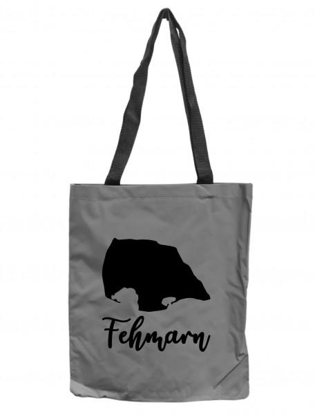 Reflektor-Tasche Insel Fehmarn maritim, grau-silber REFLEKTIERT! Einkaufs-Beutel mit Innentasche, Einkaufstasche Tragetasche Shopper Shopping-Bag