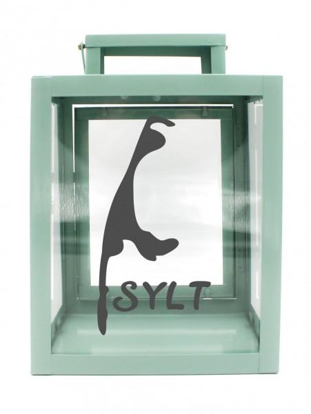 Metall-Laterne Insel Sylt Silhouette mint-grün 25x18x13cm für LED-Kerzen