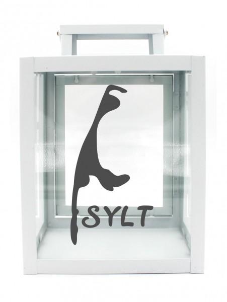 Metall-Laterne Insel Sylt Silhouette weiß 25x18x13cm für LED-Kerzen