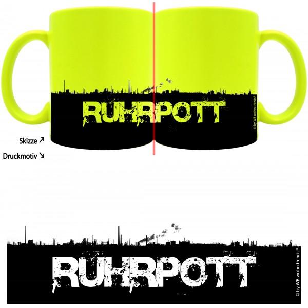 knallige Tasse mit rundum Motiv: RUHRPOTT Skyline, Farbe: neon-gelb, Kaffee-Becher mit Motiv