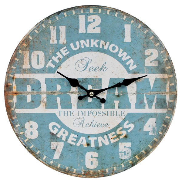 Wanduhr aus Holz, DREAM The unknown Greatness, blau / 29cm, Vintage Shabby Uhr, WB wohn trends