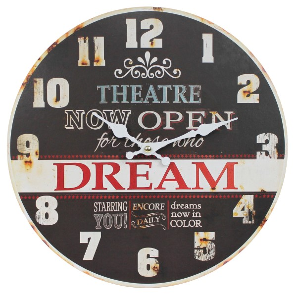 Wanduhr aus Holz ~ THEATRE NOW OPEN, DREAM ~ braun / 29cm ~ Vintage Shabby Uhr ~ WB wohn trends