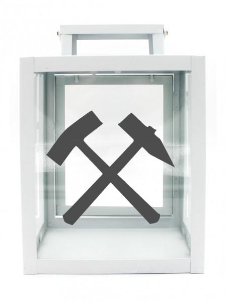 Metall-Laterne Schlägel und Eisen Bergbau Glück-auf weiß 25x18x13cm für LED-Kerzen