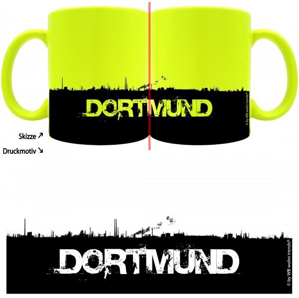 knallige Tasse mit rundum Motiv: DORTMUND Skyline, Farbe: neon-gelb, Kaffee-Becher mit Motiv