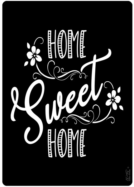 Holz-Brett, Home Sweet Home schwarz weiß, Kreidetafel-Optik Holz-Schild Wand-Bild 21x15cm