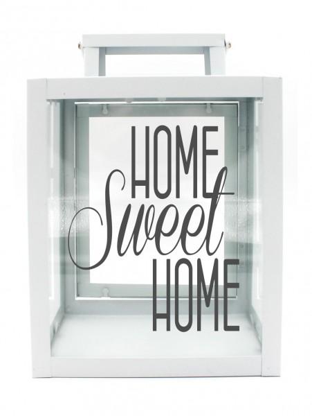 Metall-Laterne Home Sweet Home weiß 25x18x13cm für LED-Kerzen