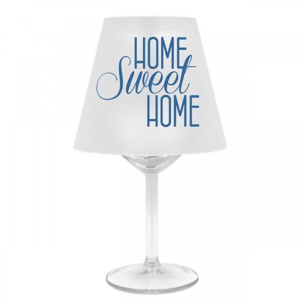 Lampenschirm für Weinglas, HOME sweet HOME, B, blau, Schirm ohne Glas, Windlicht