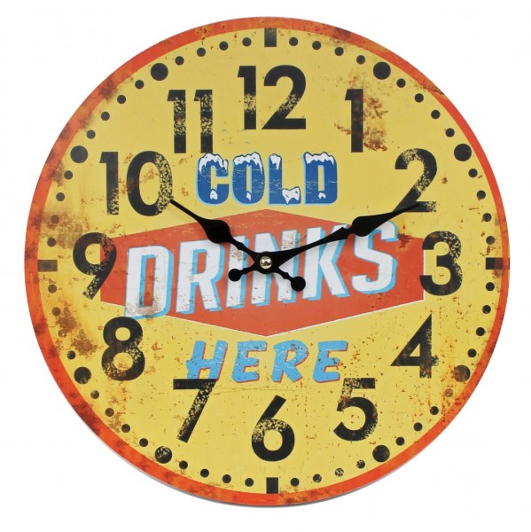 Wanduhr aus Holz ~ COLD DRINKS HERE ~ gelb rot / 29cm ~ Vintage Shabby Uhr ~ WB wohn trends