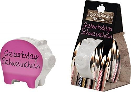 Sparschwein Spardose La Vida Serie: für Dich:-) mit Spruch: Geburtstags Schweinchen