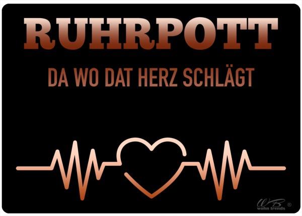 Holz-Postkarte, Ruhrpott da wo dat Herz Schlägt, schwarz, Holz-Schild Wand-Bild Deko-Schild 15x10cm