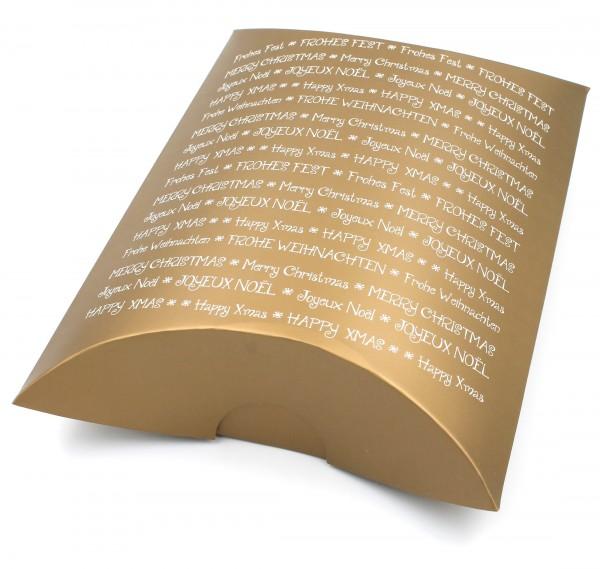 XXL-Geschenkschachtel, GOLD Merry Christmas Frohe Weihnachten, mehrsprachig, 30,5x23x7,5cm, Farbe/Motiv wählbar, Kiste Geschenk-Box aus Pappe