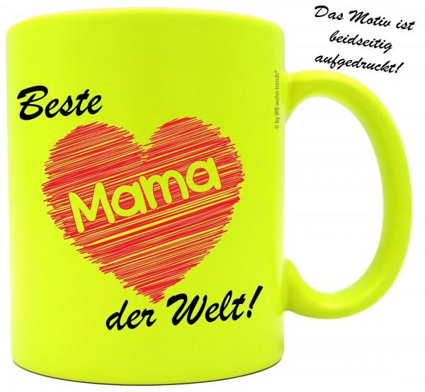 knallige Tasse mit beidseitigem Motiv ~ Beste Mama der Welt ~ Farbe: neon-gelb ~ Kaffee-Becher mit Motiv