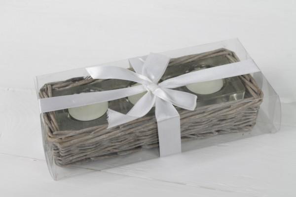 Rattan Korb Windlicht mit Teelichte in Geschenkbox