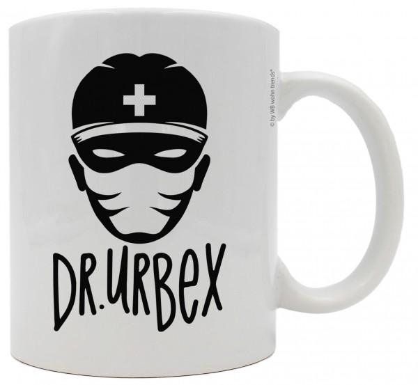 Tasse mit beidseitigem Motiv, Dr.Urbex, Farbe: weiß, Kaffee-Becher mit Lost Place Motiv