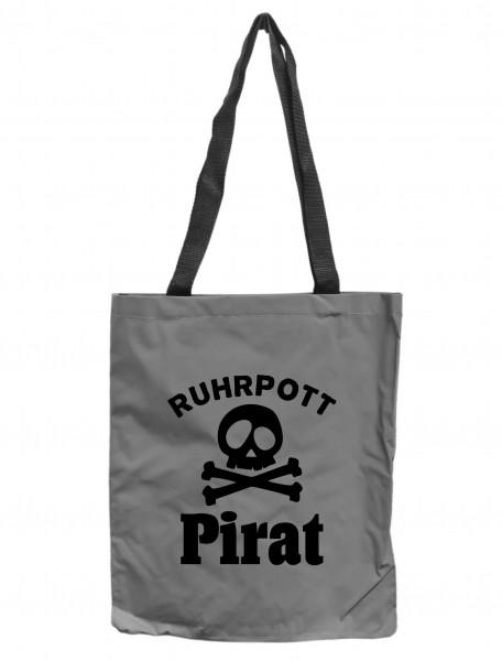 Reflektor-Tasche Ruhrpott Pirat, grau-silber REFLEKTIERT! Einkaufs-Beutel mit Innentasche, Einkaufstasche Tragetasche Shopper Shopping-Bag