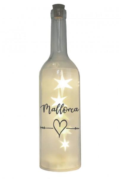 LED-Flasche mit Motiv, Insel Mallorca Herz, grau, 29cm, Flaschen-Licht Lampe mit Text Spruch Stadt