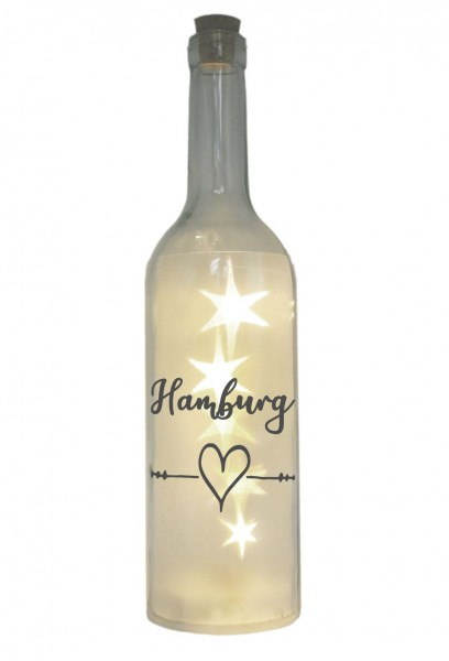 LED-Flasche mit Motiv, Hamburg Herz, grau, 29cm, Flaschen-Licht Lampe mit Text Spruch Stadt