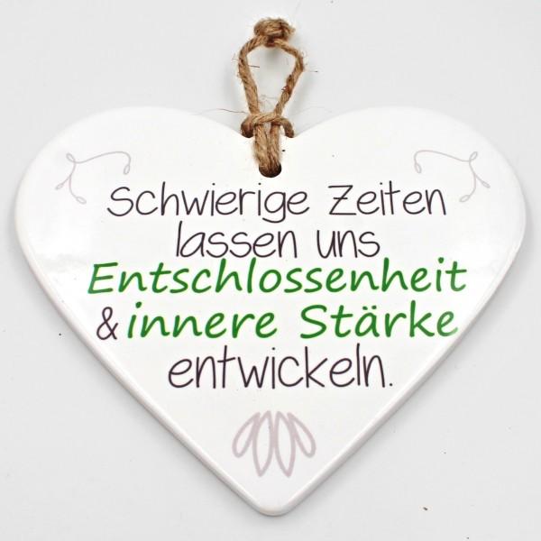 Keramik Herz ~ Entschlossenheit und innere Stärke ~ zum Hängen und Legen ~ ca 15cm