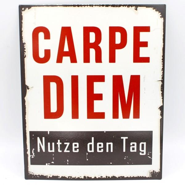 Blechschild, CARPE DIEM Nutze den Tag, Schild aus Metall zum Hängen, 25 x 20 cm
