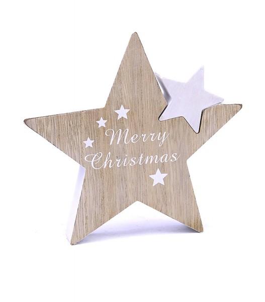 Deko-Figur aus Holz 3D Weihnachts-Stern Merry Christmas, weiß natur, 18,5x18x2,5cm Weihnachts-Deko Weihnachten