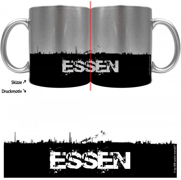 knallige Tasse mit rundum Motiv: ESSEN Skyline ~ Farbe: silber-metallic ~ Kaffee-Becher mit Motiv
