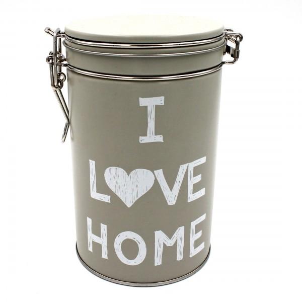 Dose aus Metall mit Clipverschluss, I LOVE HOME, für Kaffee Tee Zucker Müsli, ca 9,5 x 9,5 x 15,6cm