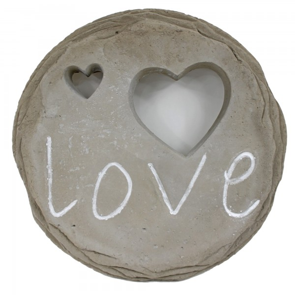 Wanddeko aus Stein/Zement zum Hängen ~ Love ~ 28 x 3 cm